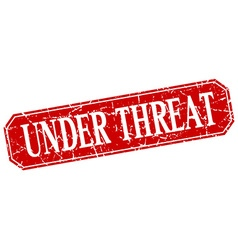 Under threat red square vintage grunge isolated vector