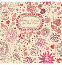 Retro floral birthday card vector