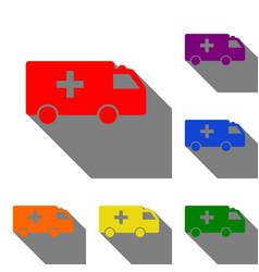 ambulance sign set of red orange vector image