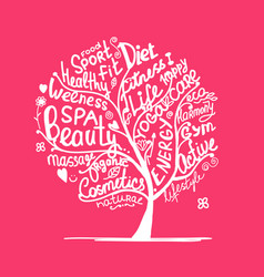 art tree with healhty lifestyle tags vector image