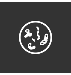 Bacteria logo on black background icon vector