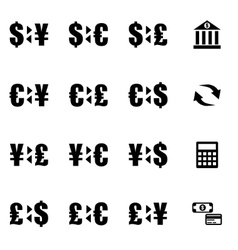 black bank icon set vector image