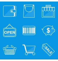 Blueprint icon set Shop vector image