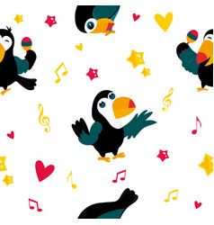 bright pattern with funny cartoon toucans vector image vector image