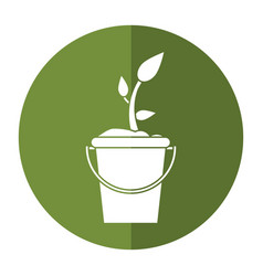 Bucket plant garden image shadow vector