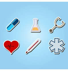 color icons with medical theme vector image vector image