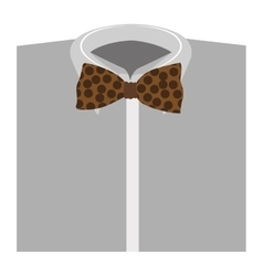 Color silhouette with shirt and bow tie close up vector