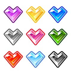 Colorful heart diamonds vector image vector image