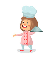 Cute cartoon smiling little girl chef character vector