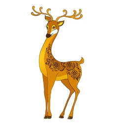 deer cartoon with floral abstract vector image vector image