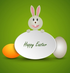 Easter card with sign bunny and colored eggs vector