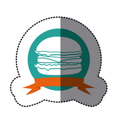Emblem hamburger fast food icon vector
