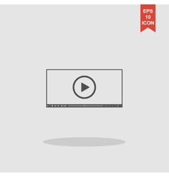 Flat clean video player for web vector image vector image