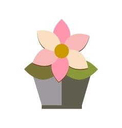 flower in pot on white background flat vector image vector image
