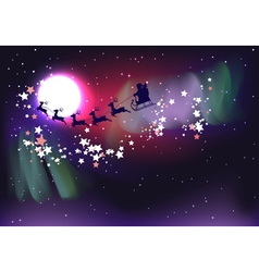 Flying santa over aurora borealis2 vector