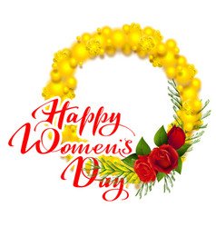 Happy womens day text greeting card yellow mimosa vector