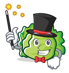 Magician lettuce character mascot style vector