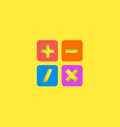 Mathematical symbols ui calculator logo mockup vector image vector image
