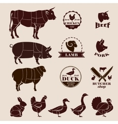 meat cuts butcher retro emblems and labels set vector image