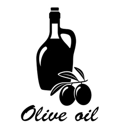 Olives branch with olive oil vector