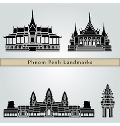 Phnom Penh landmarks and monuments vector image