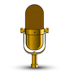 Realistic isolated image of golden microphone vector