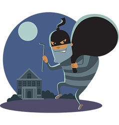 Robber at night vector