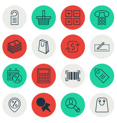 Set of 16 e-commerce icons includes vector