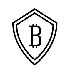 shield with bitcoin icon vector image