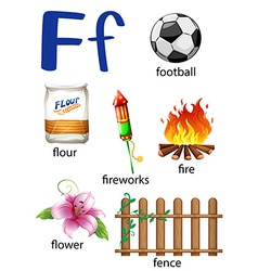 Things that start with the letter F vector image
