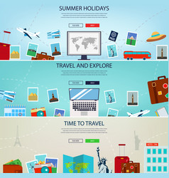Three travel and tourism headers banners summer vector