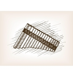 Pan flute hand drawn sketch vector