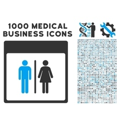 Toilet persons calendar page icon with 1000 vector