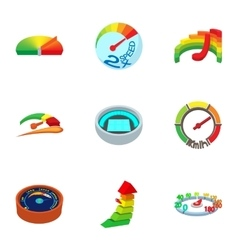 Speed measurement icons set cartoon style vector