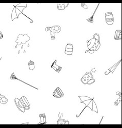 sketch pattern - seamless autumn season vector image