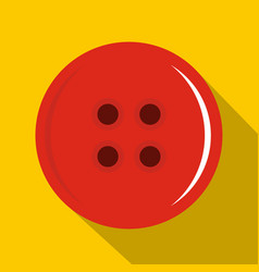 Red sewing button icon flat style vector
