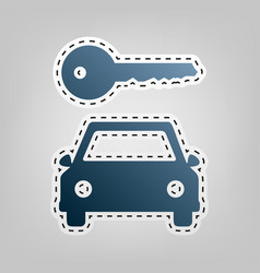 car key simplistic sign  blue icon with vector image