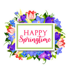 spring holidays greeting card with floral frame vector image