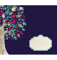 Diversity Tree hands greeting card vector image
