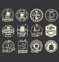 Vintage coffee shop and cafe logos badges and vector