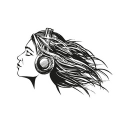 Beautiful young girl listening to music on vector