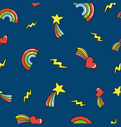 Seamless pattern with doodle comets lightnings vector