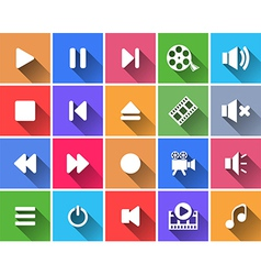 Set of flat color buttons vector