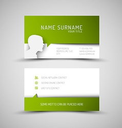 Modern simple green business card template with vector image