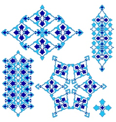 Blue artistic ottoman seamless pattern series vector