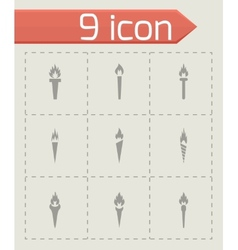Torch icon set vector