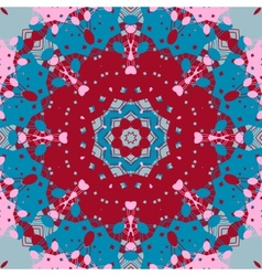 Mandala design symmetry red and blue color vector