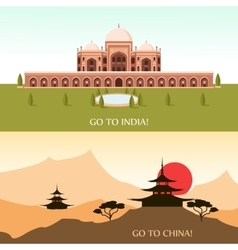 Tourism for china and india vector