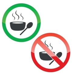 Hot soup permission signs set vector