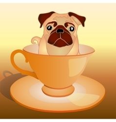 Dog in the cup vector